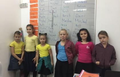 כיתה ג' בשיעור אנגלית התלמידים מדברים באנגלית ומספרים כל חיה היכן נמצאת.